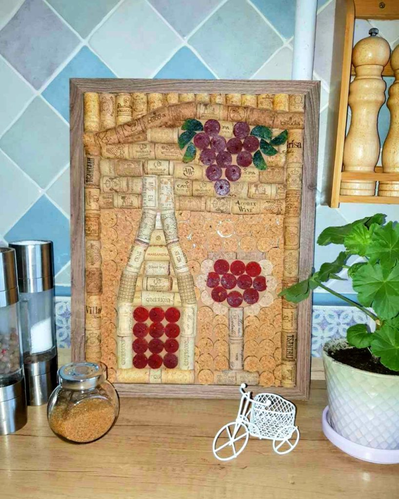 "Painting of wine corks ""Bottle of wine"" Sold for crypto"