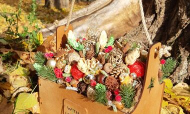 Decorative wooden box with Christmas decorations