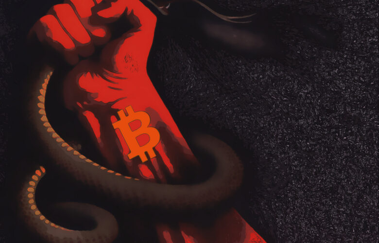 The snake ... represents the material principle, the womb. All our lives we have been chasing the money snake, knowing pain, fears, humiliation ... .. Only begotten of Bitcoins can kill the snake and be free!